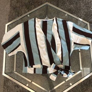 Cropped stripe blouse